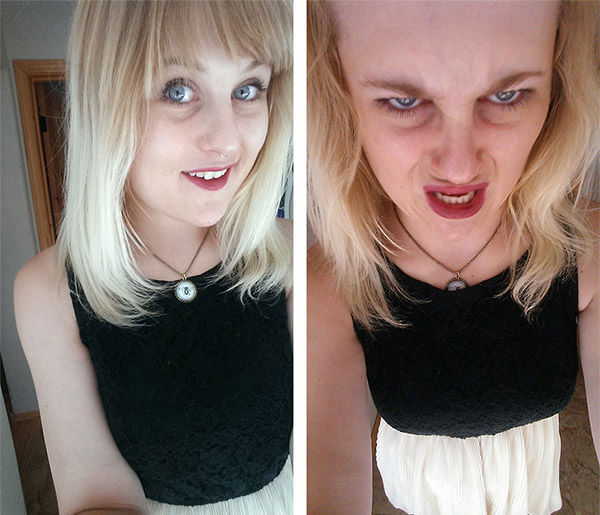Somebody call an exorcist, this attractive woman has clearly been posessed on the right. <span class=meta>reddit.com/user/marhmalloskies</span>