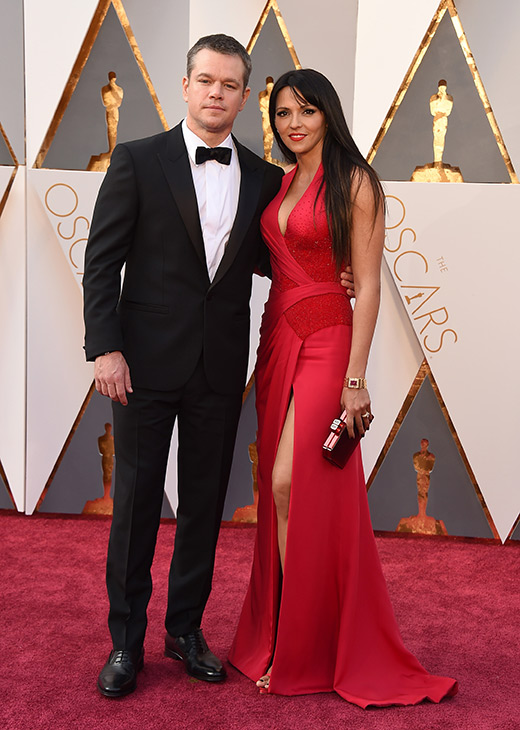 <div class='meta'><div class='origin-logo' data-origin='AP'></div><span class='caption-text' data-credit='Jordan Strauss/Invision/AP'>Matt Damon, left, and Luciana Barroso arrive at the Oscars on Sunday, Feb. 28, 2016, at the Dolby Theatre in Los Angeles.</span></div>