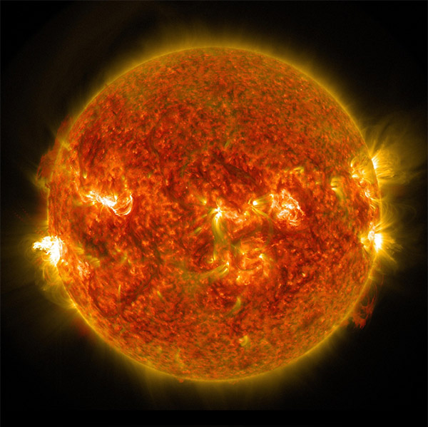 The solar flare can be seen on the left side of the sun in this image. <span class=meta>(NASA&#47;SDO)</span>