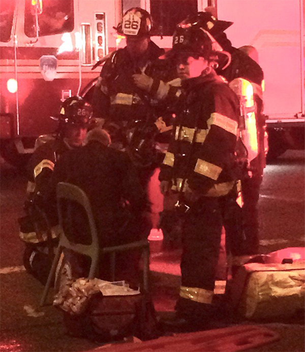 <div class='meta'><div class='origin-logo' data-origin='none'></div><span class='caption-text' data-credit='Twitter/JK Clarke'>FDNY working on a head injury in Chelsea after an explosion.</span></div>