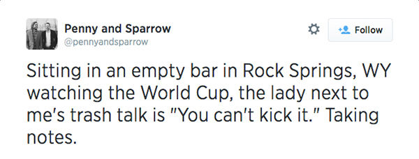 People skip work to watch World Cup game at their local sports bar. <span class=meta>/ Twitter</span>