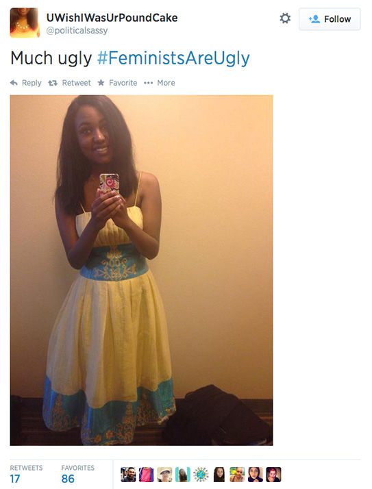 "<div class=""meta ""><span class=""caption-text "">The arrival of a new hashtag, #FeministsAreUgly, has feminists around the world posting selfies on Twitter, repurposing the word 'ugly' to mean something beautiful. (politicalsassy / Twitter)</span></div>"