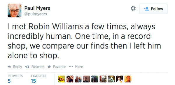 Social media outpours in grief over the death of actor Robin Williams. <span class=meta>(pulmyears &#47; Twitter)</span>