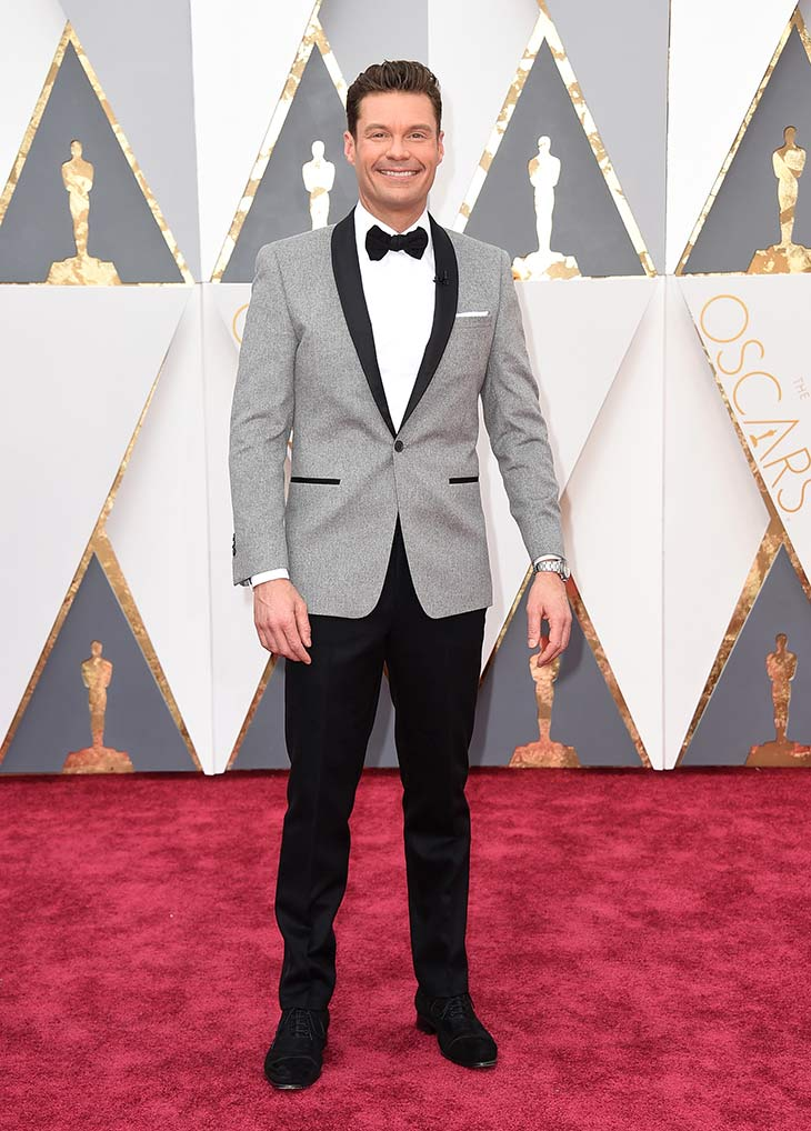 <div class='meta'><div class='origin-logo' data-origin='AP'></div><span class='caption-text' data-credit='Jordan Strauss/Invision/AP'>Ryan Seacrest arrives at the Oscars on Sunday, Feb. 28, 2016, at the Dolby Theatre in Los Angeles.</span></div>