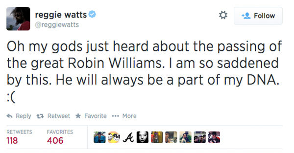 Social media outpours in grief over the death of actor Robin Williams. <span class=meta>reggiewatts / Twitter</span>