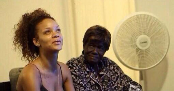 Makeup free with her grandmother, Dolly. <span class=meta>@rihanna / Twitter</span>