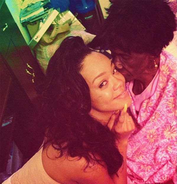 <div class='meta'><div class='origin-logo' data-origin='none'></div><span class='caption-text' data-credit='@rihanna / Twitter'>Rihanna posted this 2012 image of herself and her grandmother, shortly after Dolly had passed away.</span></div>