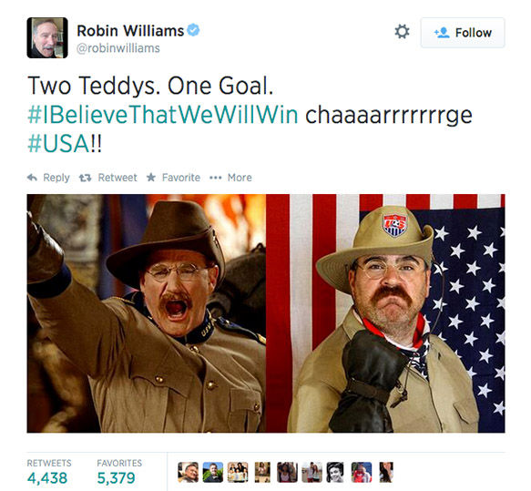 <div class='meta'><div class='origin-logo' data-origin='none'></div><span class='caption-text' data-credit='robinwilliams / Twitter'>One of Williams' last tweets included this photo, cheering on the USA team during the 2014 World Cup.</span></div>