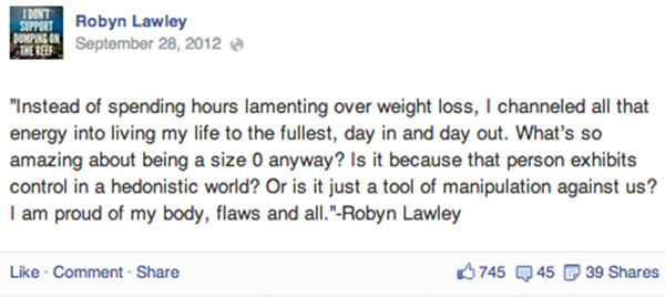 "<div class=""meta ""><span class=""caption-text "">Lawley posted her quote to Facebook about the pressure of losing weight, from a recent interview. (robynlawley1 / Instagram)</span></div>"
