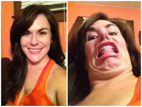 Sure she looks good in the left, but this woman must be choking in the right hand picture. <span class=meta>reddit.com/user/sailtetehys</span>