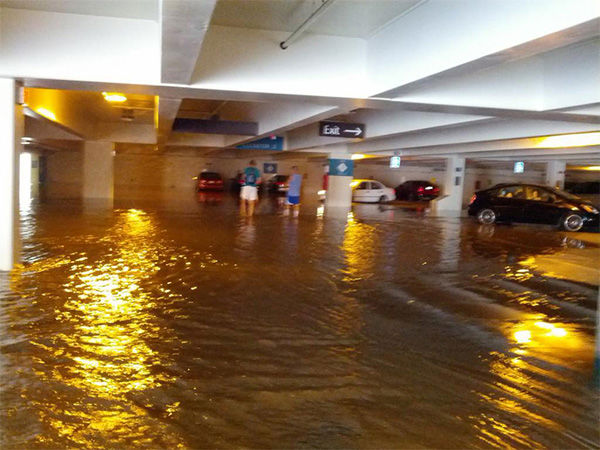 Parking garages four and seven took on a significant amount of water. <span class=meta>(samhoff3 &#47; Twitter)</span>