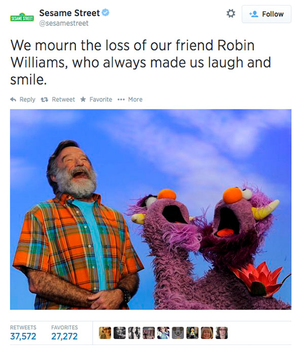 Friends at Sesame Street expressed their condolences. <span class=meta>sesamestreet / Twitter</span>