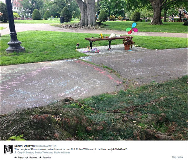 "<div class=""meta image-caption""><div class=""origin-logo origin-image ""><span></span></div><span class=""caption-text"">Fans of Robin Williams turn the Boston Public Garden bench featured in the movie Good Will Hunting into a memorial. (shdonovan19 / Twitter)</span></div>"