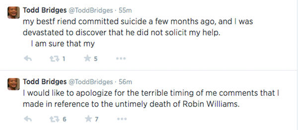 "<div class=""meta ""><span class=""caption-text "">After so much social uproar, Bridges finally apologizes and shares the fact a close friend of his recently committed suicide. (ToddBridges / Twitter)</span></div>"