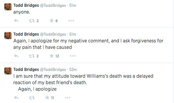 Bridges believes his reaction may have been latent reaction to his own friend&#39;s suicide, and affirms his apology again. <span class=meta>(ToddBridges &#47; Twitter)</span>