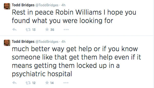 After hearing the news of Williams&#39; alleged suicide, Bridges charged that suicide is a selfish act. <span class=meta>(ToddBridges &#47; Twitter)</span>
