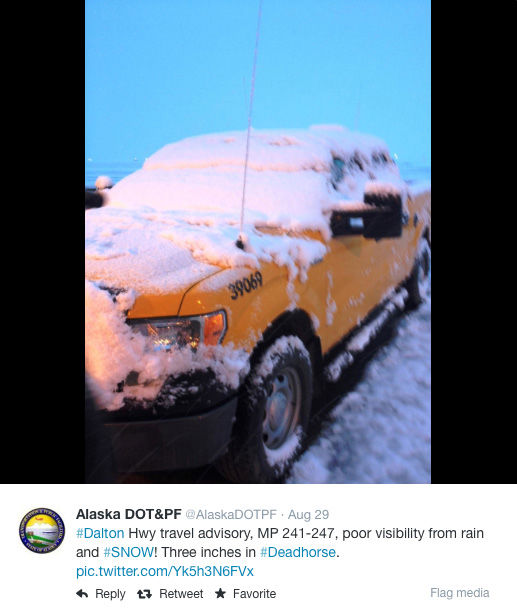 "<div class=""meta image-caption""><div class=""origin-logo origin-image ""><span></span></div><span class=""caption-text""> Alaska saw heavy snowfall in various regions over Labor Day weekend. (AlastkaDOTPF / Twitter)</span></div>"