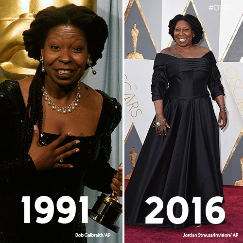 """<div class=""""meta image-caption""""><div class=""""origin-logo origin-image kfsn""""><span>kfsn</span></div><span class=""""caption-text"""">Whoopi Goldberg holds her Oscar for Best Supporting Actress in 'Ghost' in this March 26, 1991 photo (left). Whoopi Goldberg arrives at the Oscars on Sunday, Feb. 28, 2016 (right). </span></div>"""