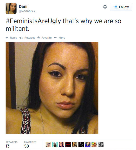The arrival of a new hashtag, #FeministsAreUgly, has feminists around the world posting selfies on Twitter, repurposing the word &#39;ugly&#39; to mean something beautiful. <span class=meta>(xodanix3 &#47; Twitter)</span>