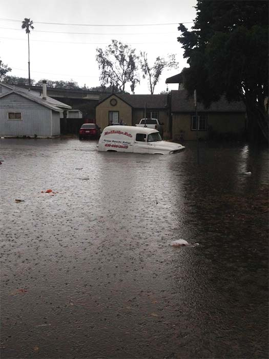 <div class='meta'><div class='origin-logo' data-origin='KABC'></div><span class='caption-text' data-credit='Twitter / Justin Lubert'>ABC7 viewer Justin Lubert shared this photo of a stranded car on flooded Channel Drive in Ventura on Wednesday, Jan. 6, 2016.</span></div>