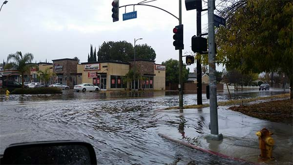 <div class='meta'><div class='origin-logo' data-origin='KABC'></div><span class='caption-text' data-credit='Twitter / Kendra Kimball'>ABC7 viewer Kendra Kimball shared this photo of flooding at Roscoe Boulevard and Mason Street in Winnetka on Wednesday, Jan. 6, 2016.</span></div>