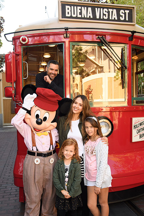 <div class='meta'><div class='origin-logo' data-origin='KABC'></div><span class='caption-text' data-credit='Richard Harbaugh/Disneyland Resort'>Actress Jessica Alba, husband Cash Warren and daughters Honor and Haven take a ride with Mickey Mouse at Disney California Adventure Park on Friday, March 31, 2017.</span></div>