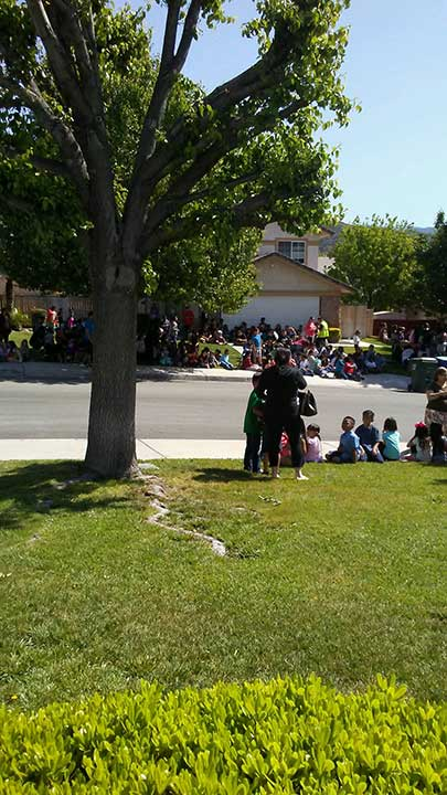 <div class='meta'><div class='origin-logo' data-origin='KABC'></div><span class='caption-text' data-credit=''>An area resident took this photo of children who were evacuated following the fatal shooting at North Park Elementary School on Monday, April 10, 2017.</span></div>