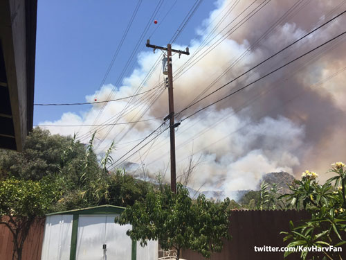 <div class='meta'><div class='origin-logo' data-origin='KABC'></div><span class='caption-text' data-credit=''>Two brush fires burn in the Angeles National Forest above Azusa and Duarte on Monday, June 20, 2016.</span></div>