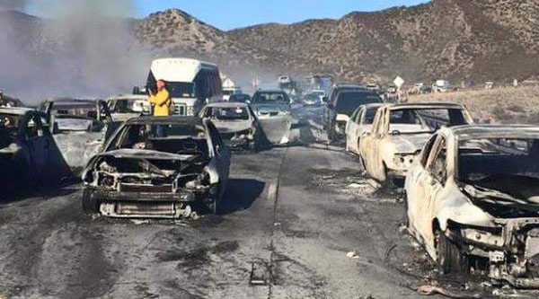 <div class='meta'><div class='origin-logo' data-origin='none'></div><span class='caption-text' data-credit='K Razeeq'>ABC7 viewer Jaime Ramos sent in this photo of burnt cars on the 15 Freeway in the aftermath of the North Fire on Friday, July 17, 2015.</span></div>