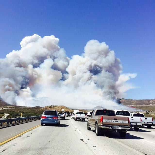 <div class='meta'><div class='origin-logo' data-origin='KABC'></div><span class='caption-text' data-credit='K Razeeq'>ABC7 viewer K Razeeq sent in this photo of the North Fire from the 15 Freeway on Friday, July 17, 2015.</span></div>