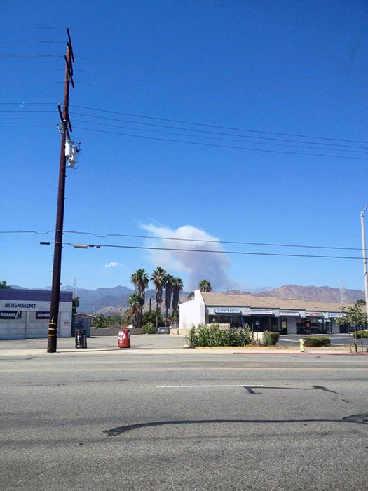 <div class='meta'><div class='origin-logo' data-origin='none'></div><span class='caption-text' data-credit='Erin Janclaes-Hampton'>ABC7 viewer Erin Janclaes-Hampton sent in this photo of smoke from a brush fire in Angeles National Forest on Sunday, Aug. 17, 2014.</span></div>
