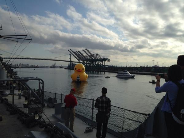<div class='meta'><div class='origin-logo' data-origin='none'></div><span class='caption-text' data-credit=''>The famous giant duck, designed by Dutch artist Florentijn Hofman, is seen at the Port of Los Angeles Wednesday, Aug. 20, 2014.</span></div>