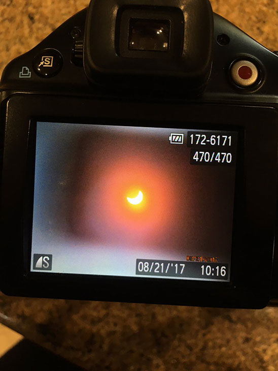 <div class='meta'><div class='origin-logo' data-origin='KABC'></div><span class='caption-text' data-credit='Natty Nat/Twitter'>The Great American Eclipse through a camera on the West Coast Monday, Aug. 21, 2017.</span></div>
