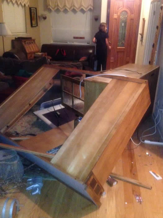 Furniture was strewn across the floor after a 6.0-magnitude earthquake struck the northern San Francisco Bay Area Sunday, Aug. 24, 2014. <span class=meta>Danielle Suesens Irwin via Facebook</span>