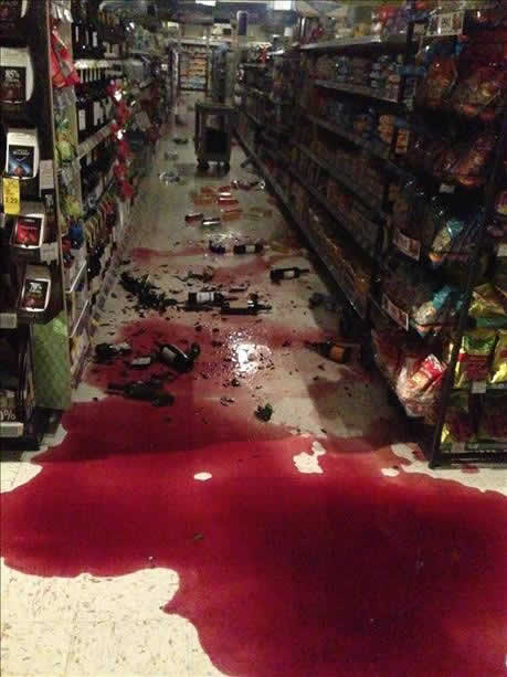Wine spilled onto the floor of a Walgreen in Vallejo after a 6.0-magnitude earthquake struck the northern Bay Area Sunday, Aug. 24, 2014. <span class=meta>Ana Cornelio via uReport</span>