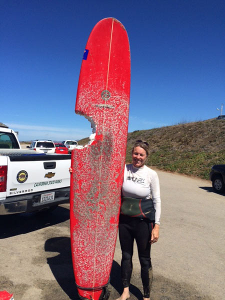 Shark bites chunk out of surfboard other encounters close for Deep sea fishing morro bay