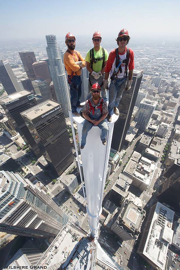 Photo Workers Pose For Picture Atop Wilshire Grand Tower