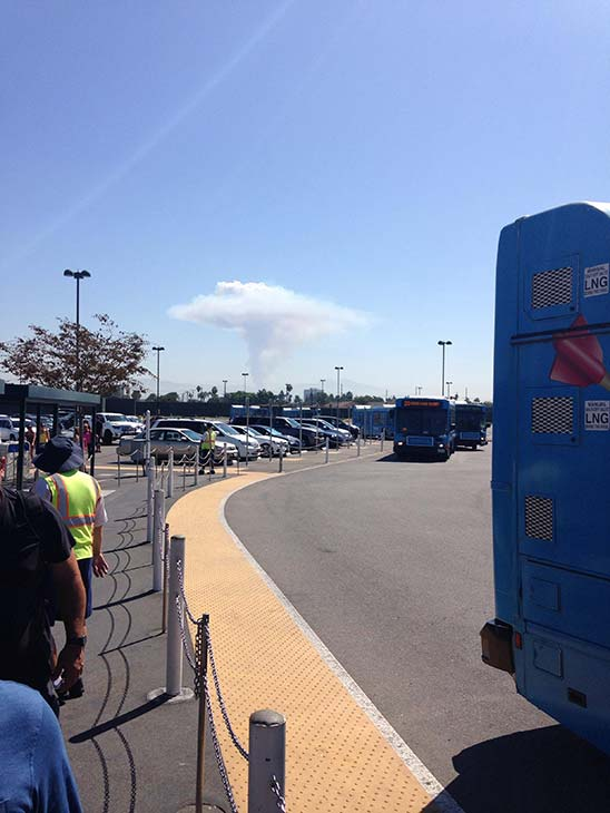 """<div class=""""meta image-caption""""><div class=""""origin-logo origin-image """"><span></span></div><span class=""""caption-text"""">Smoke from a brush fire in Silverado Canyon is seen from Disneyland in this photo from an ABC7 viewer on Friday, Sept. 12, 2014. (ABC7 viewer )</span></div>"""