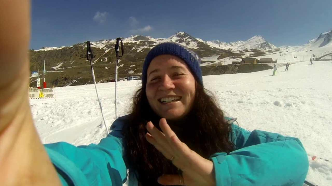 This mystery woman was pictured skiing on the GoPro camera.