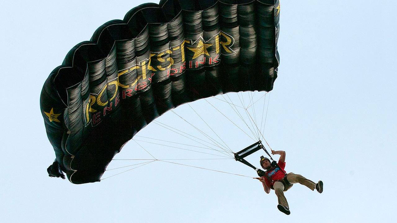 Erik Roner of Nitro Circus is seen base jumping off The Signature at the MGM Grand Hotel and Casino on Wednesday June 1, 2011 in Las Vegas.