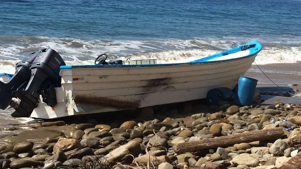 Two Riverside men were arrested after a panga boat carrying a pot washed up at San Onofre Beach in Santa Barbara County on Monday, Sept. 28, 2015.
