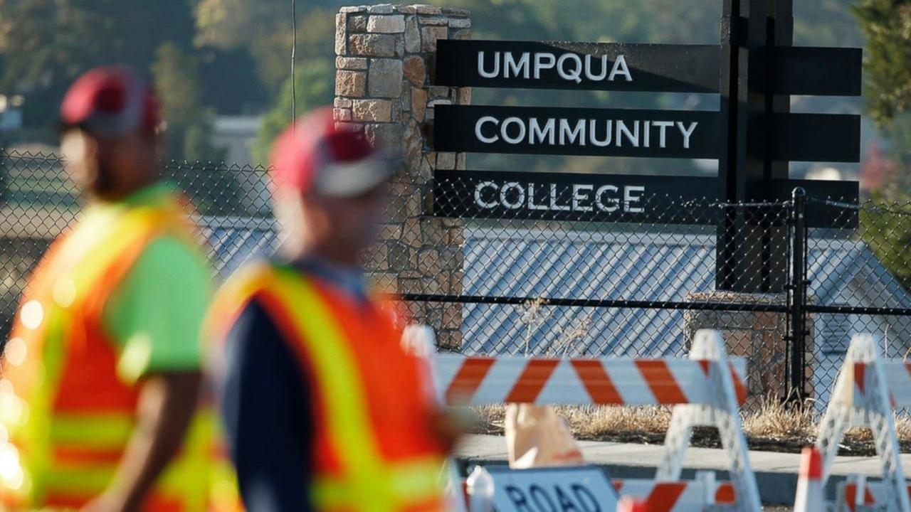 Authorities block a road leading to the Umpqua Community College, Oct. 2, 2015, in Roseburg, Oregon.