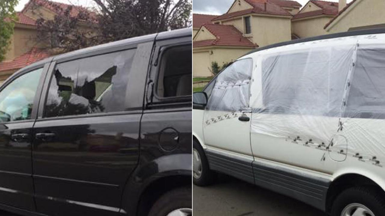 Two minivans that had their windows shot out with a BB gun are seen in Moreno Valley on Sunday, Oct. 4, 2015.