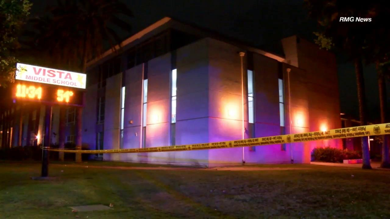 One person was killed following a shooting outside Vista Middle school in Panorama City on Sunday, Oct. 4, 2015.