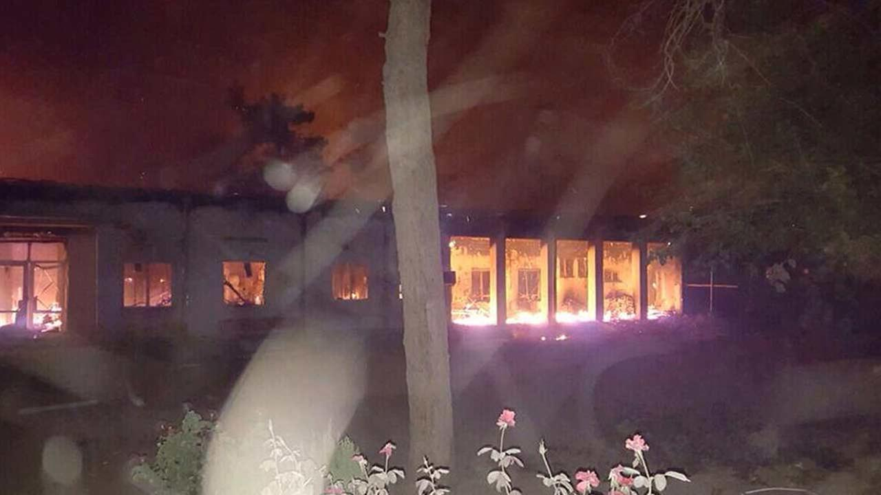 The Doctors Without Borders hospital is seen in flames, after explosions in the northern Afghan city of Kunduz, Saturday, Oct. 3, 2015.