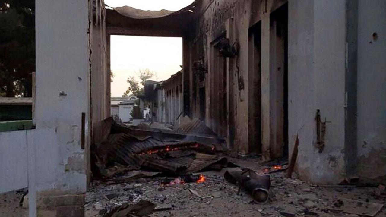 The burnt Doctors Without Borders hospital is seen after an explosion in the northern Afghan city of Kunduz, Oct. 3, 2015
