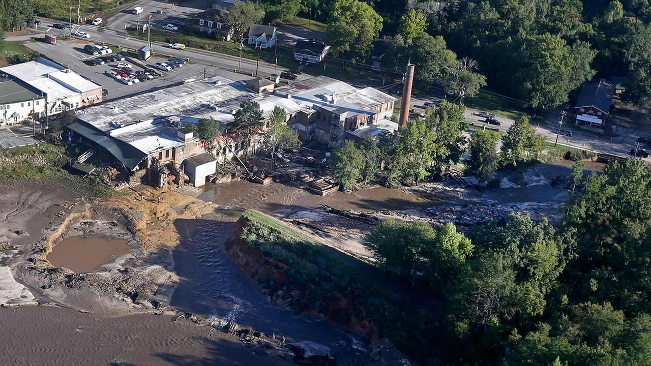 A business shows severe damage from floodwaters in Columbia, S.C., Tuesday, Oct. 6, 2015.