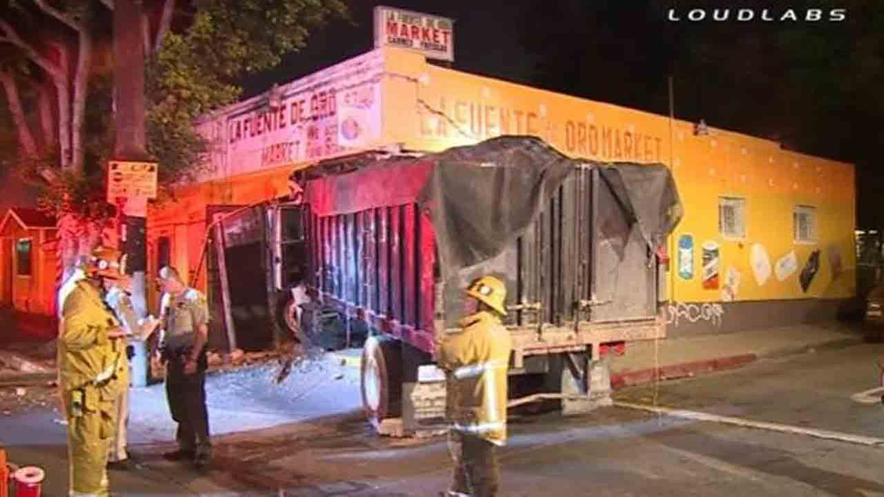 A hit-and-run driver slammed a dump truck into a market on the 6000 block of Compton Avenue in the Florence area of Los Angeles County Sunday, June 8, 2014.