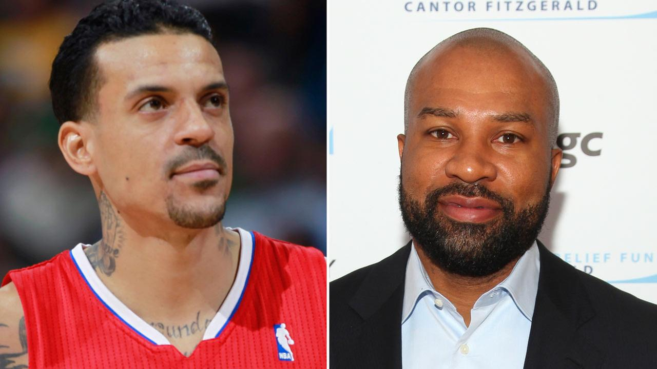 Memphis Grizzlies forward Matt Barnes is shown alongside an image of New York Knicks coach Derek Fisher in file photos.