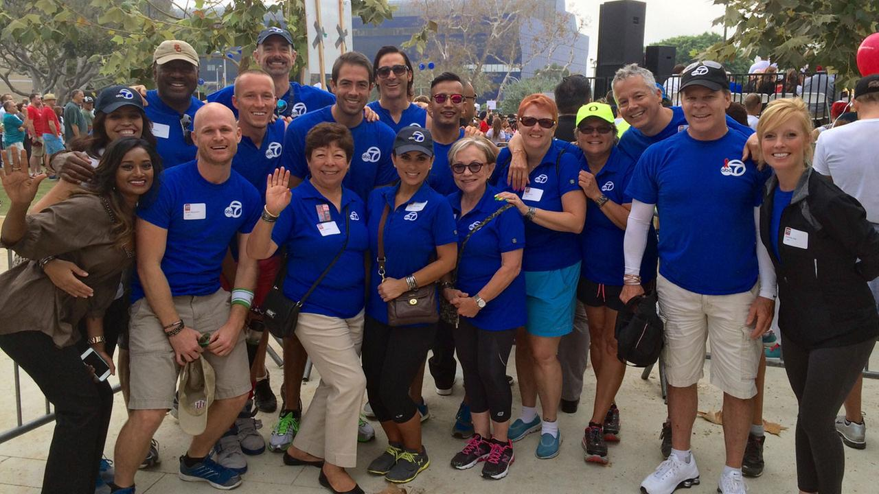 Team ABC7 takes a moment to pause for a photo during AIDS Walk Los Angeles 2014.